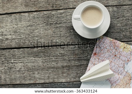 Travel. Traveling map on the table - stock photo