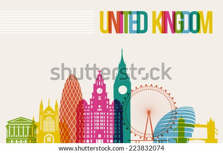 Travel United Kingdom famous landmarks skyline multicolored design background. - stock photo