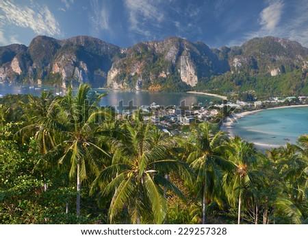 Travel vacation background - Tropical island with resorts - Phi-Phi island, Krabi Province, Thailand - stock photo