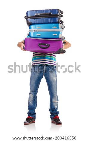 Travel vacation concept with luggage on white - stock photo
