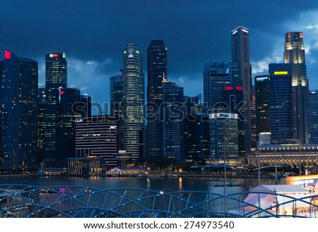travel, vacation, tourism and luxury concept - beautiful view to bangkok city at night - stock photo