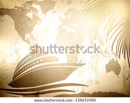 Travel Vintage Background With Cruise Ship Over Map and Palm Leaves - stock photo