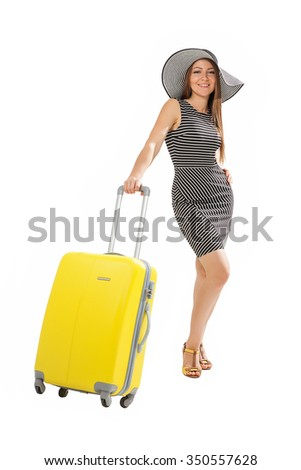 Travel. Woman with suitcase. - stock photo