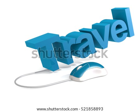 Travel word with blue mouse, 3D rendering