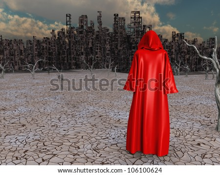Traveler before the destroyed city - stock photo
