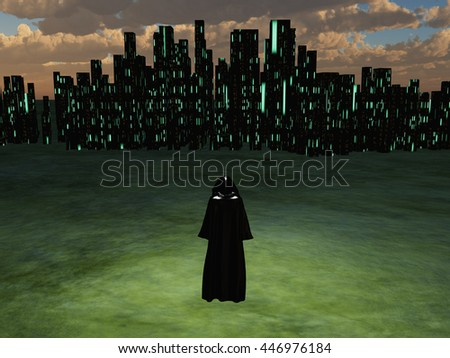 Traveler before the great city 3D Render - stock photo