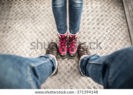 Traveler boots, first person perspective - stock photo