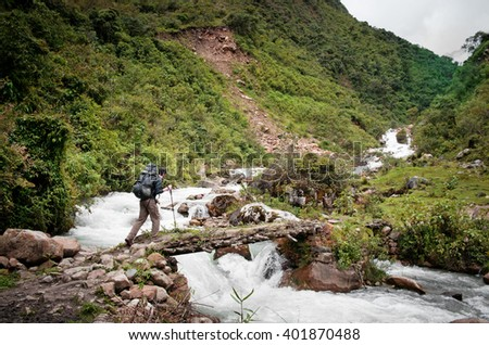 traveler in mountains, Salkantay Trekking, Peru, South America