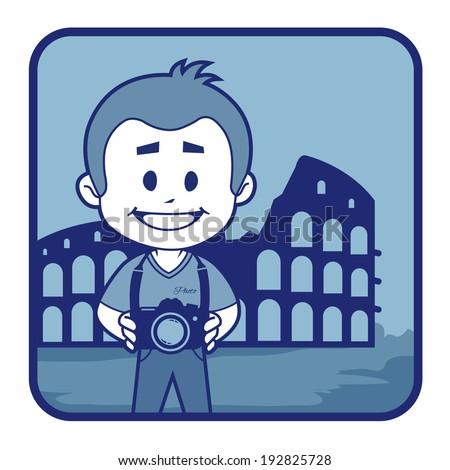 Traveler is near to Roman Coliseum in Italy .  - stock photo