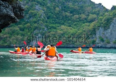 Traveler kayaking in the Gulf of Thailand. Angthong National Marine Park, Suratthani province, Thailand. - stock photo