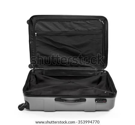 Traveler Large bag with wheels. Isolated on white background - stock photo