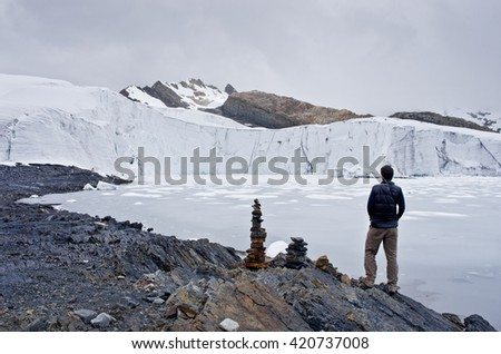 traveler near Pastoruri glacier in Cordillera Blanca, Northern Peru