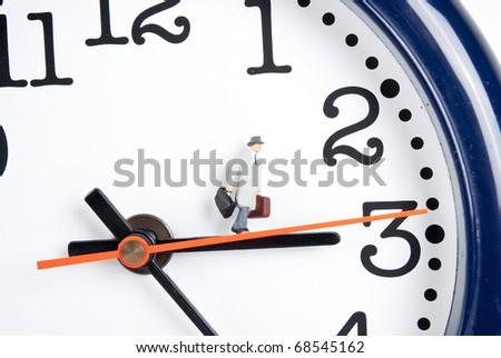 traveler on clock in time - stock photo