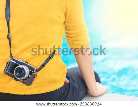 traveler photographing - stock photo