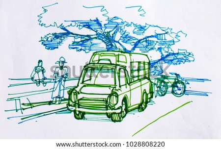 Traveler Sketch Drawing Coloring People Old Stock Illustration ...