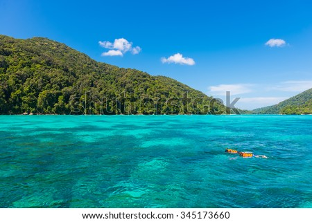 Traveler snorkeling in Tropical beach scenery, Andaman sea, View of koh surin island,Thailand - stock photo