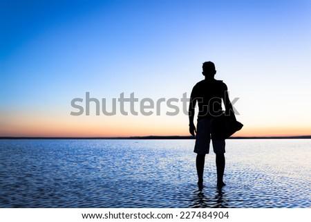 Traveler walking on Salt Lake,Turkey - stock photo