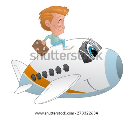 Traveler with the suitcase on an airplane character - stock photo