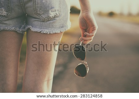 Traveler woman retro summer - stock photo