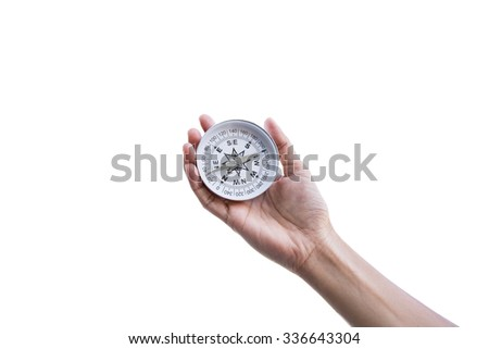 Traveler woman searching direction with a compass, on white background - stock photo