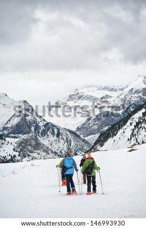 Travelers and Snow in the Pyrenees  - stock photo