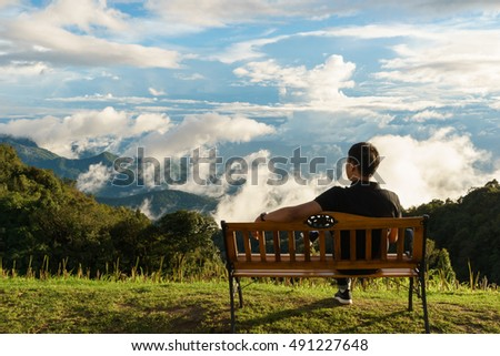 Travelers enjoy the view from Doi Inthanon viewpoint,chiang mai, thailand