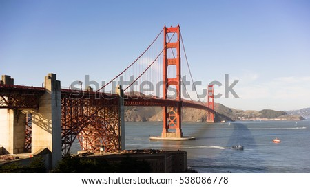 Travelers go on, under, and over the Golden Gate Bridge in San Francisco