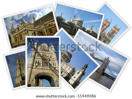 Traveling around England in collage with several shots on white background - stock photo