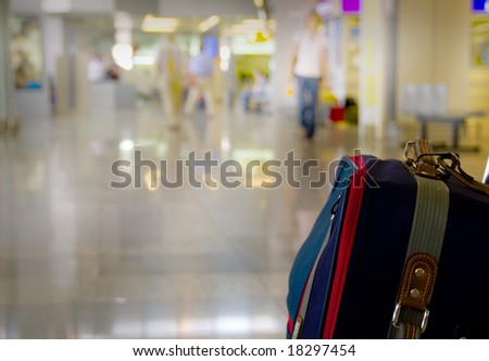 Traveling bags at the airport - stock photo