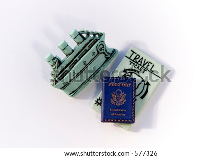 Traveling by boat with ticket and passport