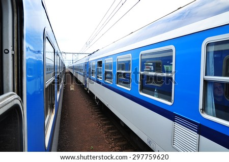 Traveling by train, rail transportation - stock photo
