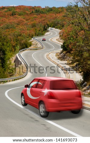 traveling car in national flag of turkey colors and beautiful road landscape for tourism and touristic adertising