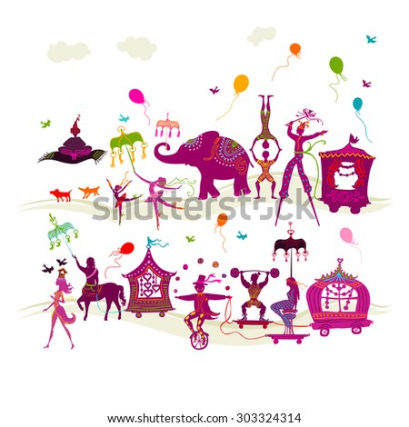 traveling colorful circus caravan with magician, elephant, dancer, acrobat and various fun characters in two rows on white background - stock photo
