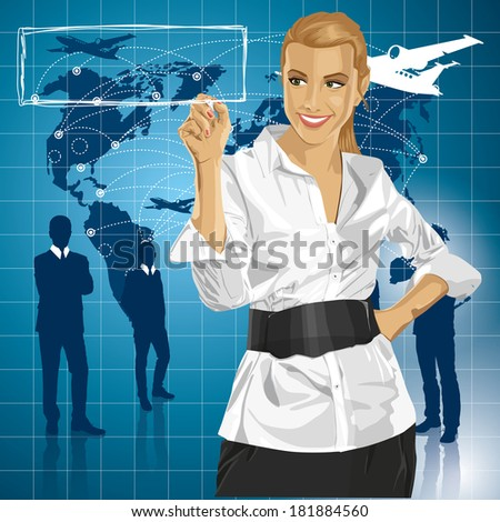 Traveling concept. Business woman writing something