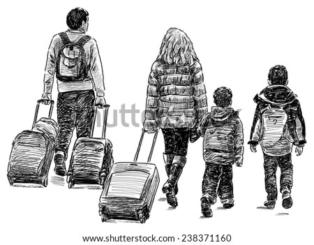 traveling family - stock photo