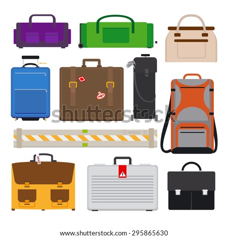 Different Types Baggage Large Small Suitcase Stock Vector