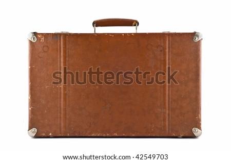 Traveling - old-fashioned suitcase isolated over white - stock photo