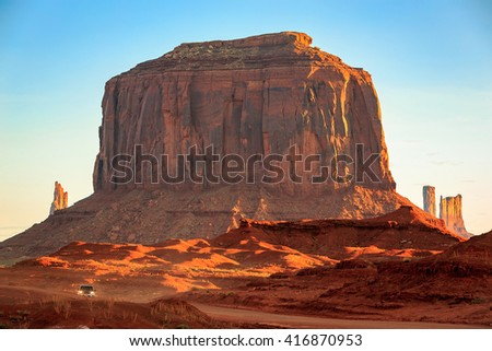 Traveling on a dirt road in Monument Valley, Arizona, USA.