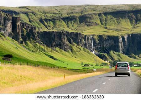 traveling on the roads of Iceland - stock photo