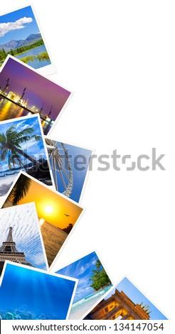 Traveling photos frame isolated on white - stock photo