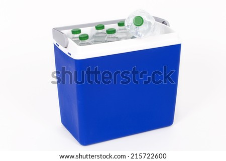 Traveling refrigerator with bottles of water - stock photo