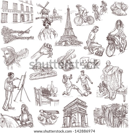 Traveling series: FRANCE - collection of an hand drawn illustrations. Description: full sized hand drawn illustrations isolated on white.