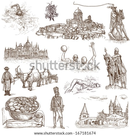 Traveling series: HUNGARY, part 2 - Collection of an hand drawn illustrations. Description: Full sized hand drawn illustrations isolated on white. - stock photo