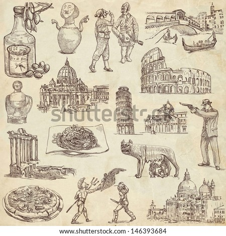 Traveling series: ITALY - Collection of an hand drawn illustrations. Description: Full sized hand drawn illustrations drawing on old paper. - stock photo