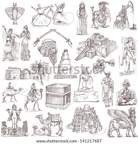 Traveling series: MIDDLE EAST - collection of an hand drawn illustrations. Description: full sized hand drawn illustrations isolated on white.