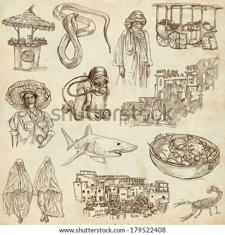 Traveling series: MOROCCO - Collection of an hand drawn illustrations. Description: Full sized hand drawn illustrations drawing on old paper.