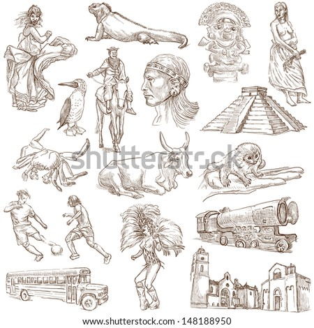 Traveling series: SOUTH AMERICA part 1. - Collection of an hand drawn illustrations . Description: Full sized hand drawn illustrations drawing on white background. - stock photo