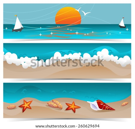 Traveling summer banners raster illustration. Set of three traveling themed banners with beach, sunset and ocean. Details like shells, ship, seagulls. - stock photo