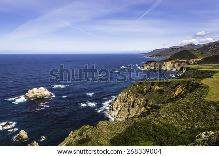 Traveling the rugged Big Sur Highway (Highway 1) and Coastline. California Central Coast, near Cambria, CA.  - stock photo
