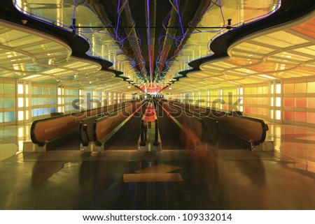 traveling through the Chicago airport on a people mover - stock photo